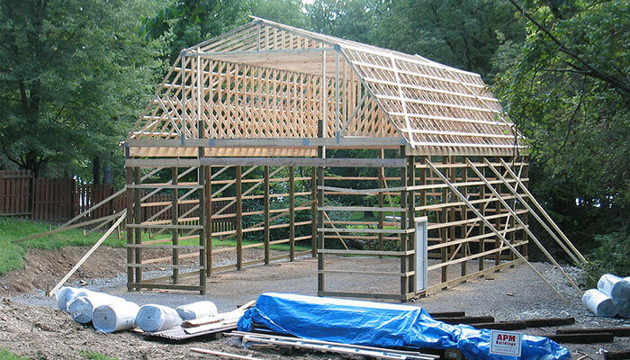 Pole Barn With Gambrel Roof Truss Kits By Apm Buildings